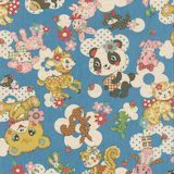 Retro forest animals on light blue