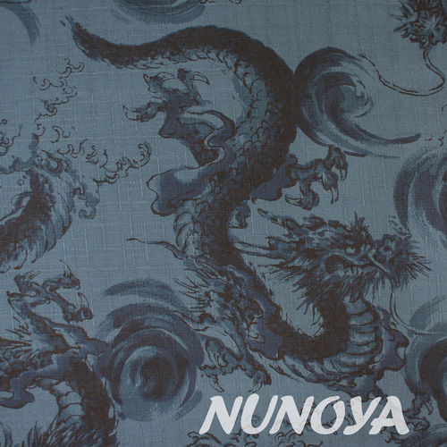 Dragons on dark blue - Cotton by Kokka