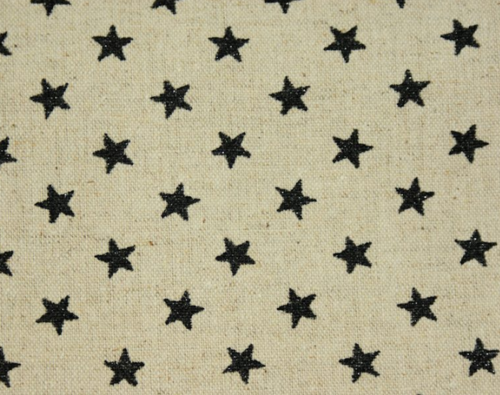 Glitter Black Stars on natural - Cotton & Linen
