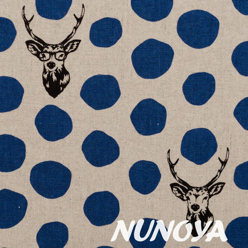 Sambar - blue on natural - by Echino - cotton and linen canvas
