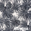 Aloha leaves - charcoal on white - Cotton and linen