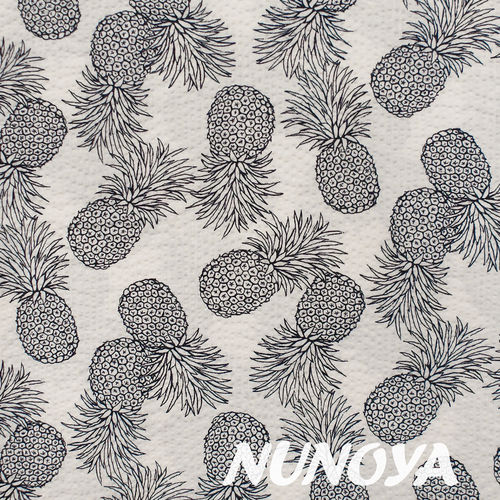 Pinapples - dark blue on white - Cotton