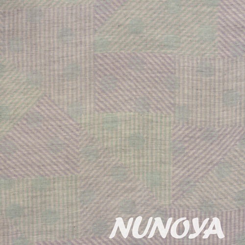 Striped triangles and dots - pale green and violet - by Kokka