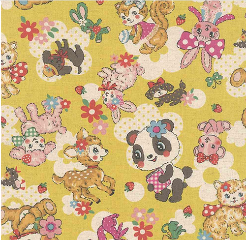 Retro forest animals on yellow