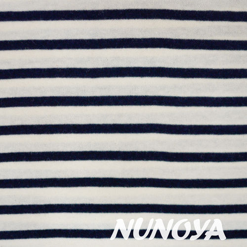 White & Dark blue stripes - Cotton yarn dyed knitted