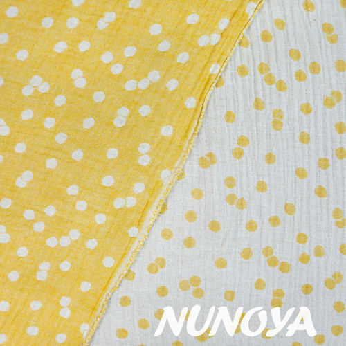 Dots - yellow - Double cotton yard dyed dobby