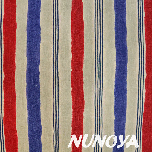 Stripes - natural, red and blue - Cotton & Linen