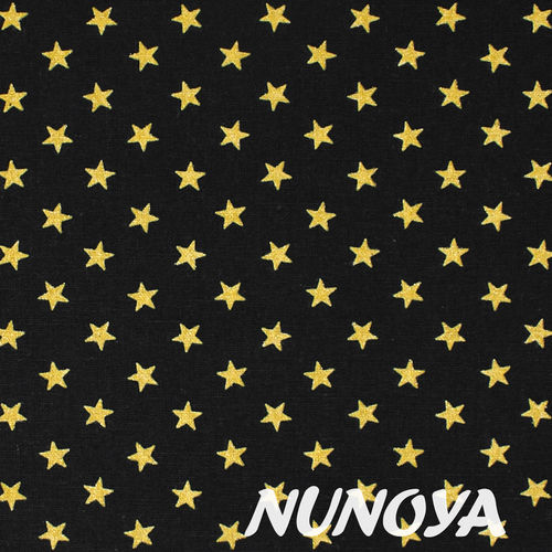 Glitter Golden Stars on black - Cotton & Linen