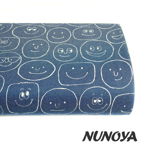 Smiling faces, in blue jean - Cotton & polyester