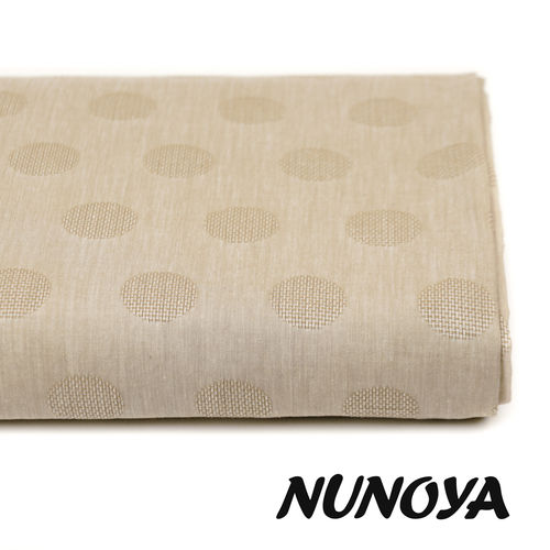 Dots, in beige - Cotton yarn dyed Jacquard