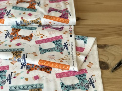 The bird at the beautiful sewing machine on white by Bethan Janne for Dashwood Studio - cotton