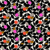 Orange and pink buds with dark leaves on natural - Rayon by Dashwood Studio