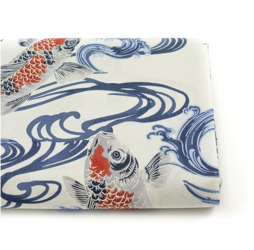 Oyogu koi - Blue grey on off-white - Cotton