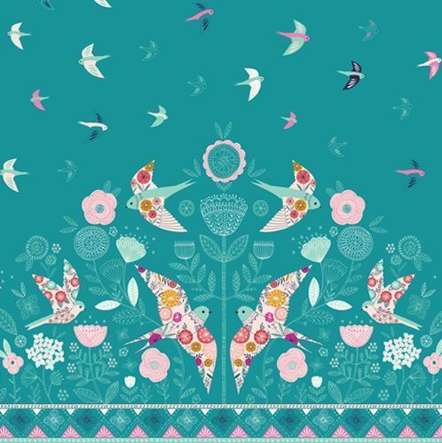 Pink birds on blue green - Cotton fabric