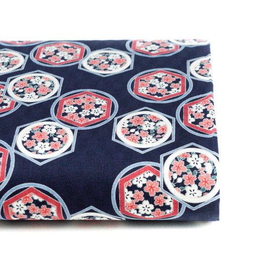 Rokkaku ni sakura - Pink and navy Blue - Cotton