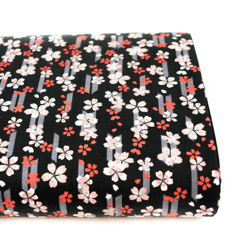 Yagasuri to sakura no ame - Coral on grey and black - Cotton