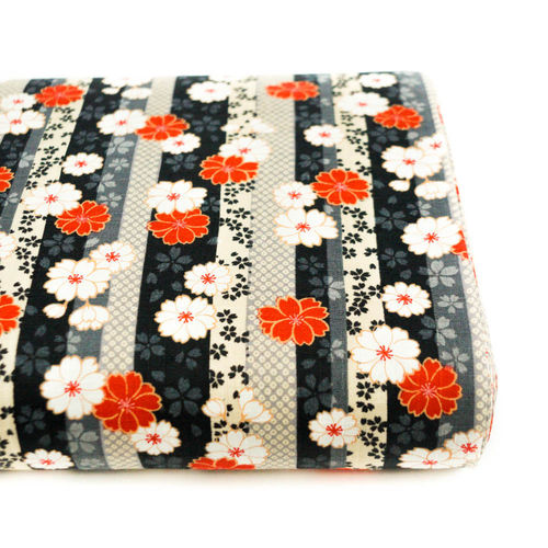 Wagara shimamoyou ni sakura to kiku - Red, grey and black - Cotton