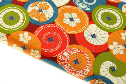 Japanese pattern umbrella - red blue green on burgundi -  Light cotton
