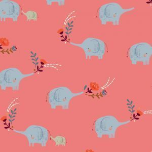 Elephants on pink - Cotton fabric