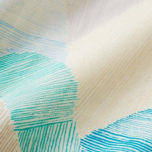 Mountain Views - White & turquoise - Cotton double gauze