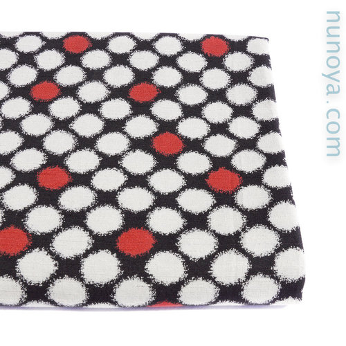 Light grey and red dots  - Cotton