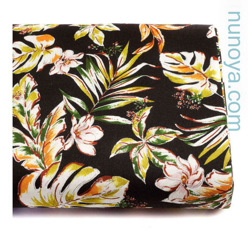 Tropical flowers on black - Rayon/linen canvas