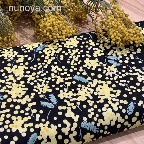 Mimosa on black - Cotton double gauze