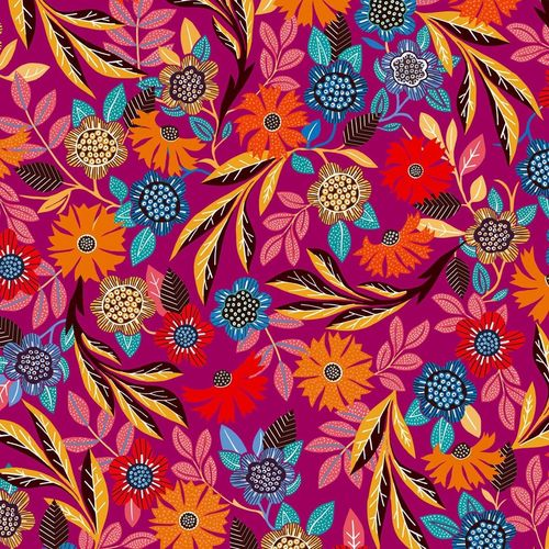 Flowers on fuchsia - Rayon