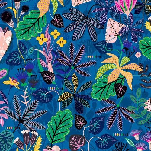 Stylized black leaves and buds on blue - Rayon