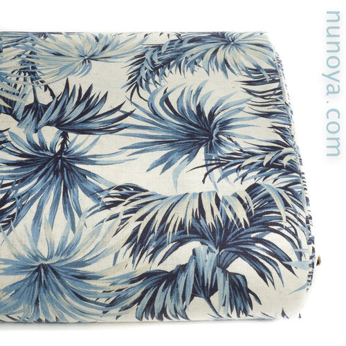 Tropical Palms - Blue on Natural - Cotton/linen canvas