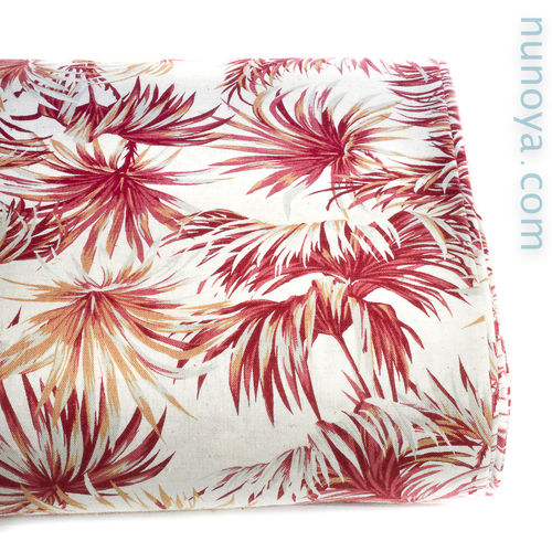 Tropical Palms - Red on Natural - Cotton/linen canvas