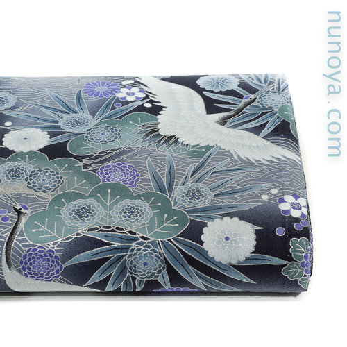 Tsuru and silver seigaiha on grey black - Cotton