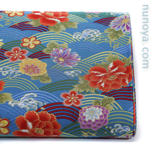 Colorful seigaiha and flowers - Blue - Cotton