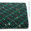 Golden moon and stars on green - Cotton canvas