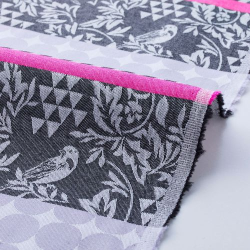 Gara Birds stripes and dots in the grey and pink - Cotton Jacquard of Echino