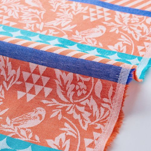 Gara Birds stripes and dots in the orange and turquois - Cotton Jacquard of Echino