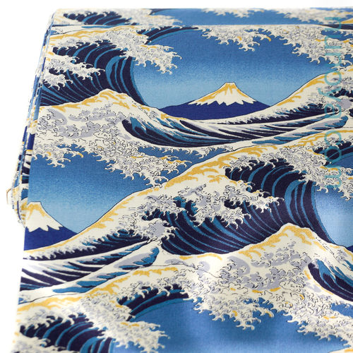 Hokusaino umi - Blue and gold -  Light cotton made in Japan