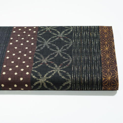 Japanese stripe batic motifs - Black/Brown - Cotton